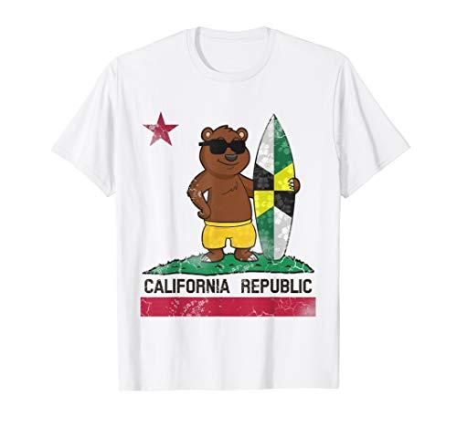 (Monterey Flag California Republic T-Shirt Surfer Bear Flag)