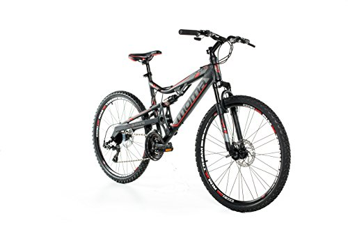 Moma Bikes, EQX 26' Mountain Bike, Black, Aluminum, SHIMANO 24 Speeds, Disc Brakes, Double Suspension (Several sizes available)