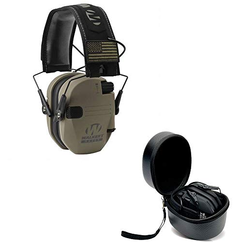 Walkers Razor Slim Electronic Shooting Hearing Protection Muff (Sound Amplification and Suppression) with Protective Case, FDE Patriot
