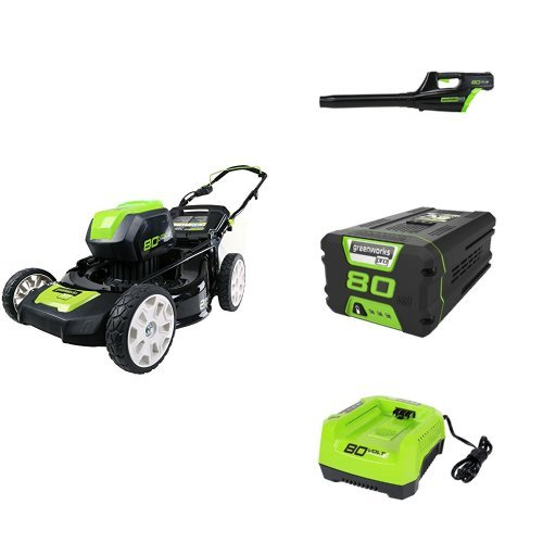 """GreenWorks Pro 80V 21"""" Lawn Mower + Blower w/ (1) 2Ah Battery & Charger"""