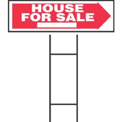 """Hy-Ko RS-801 House for Sale Sign, 10"""" x 24"""", Red/White"""