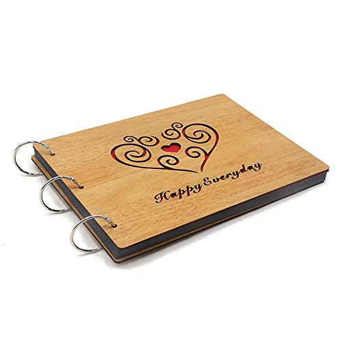 TOOGOO(R) Photo Album DIY 8 X 10 inch Self-adhesive Black Pages Scrapbooking Hollow Wood Cover Anniversary 3-Ring Binder Scrapbook (Happy Everyday) by TOOGOO(R) (Image #1)