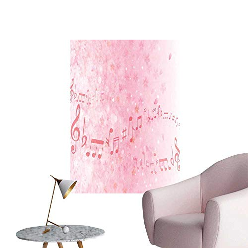 Alexandear Light Pink Wall Mural Wallpaper Stickers Music Notes Pitch on Romantic Floral Background Classic Rhythm Art Inspiration Boys Kids Bedroom Baby Pink W20 x H28]()