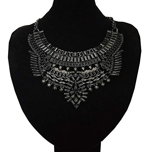 NABROJ Statement Necklace Pendant Collier Collar Choker Big Vintage Maxi Chunky Necklace Costume Jewelry-HL32 All Black