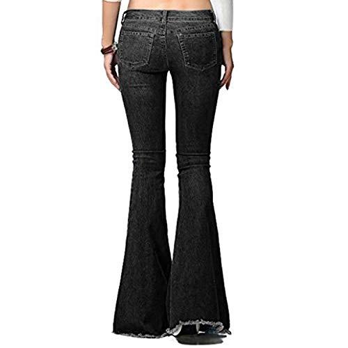 Svasati Hx Ampi Denim Fashion C Chic Casual Pantaloni Bootcut Jeans Schwarz Slim xqIa4qrF