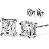 KARAY 18k White Gold Plted CZ Cubic Zirconia Square Princess Cut Studs Earrings - Mens Womens Children Fashion Jewelry, Bridesmaid Groomsmen Gifts