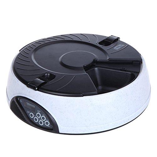 quickcor (TM) 6Meal LCD Digital Automatic Pet Feeder Mahlzeit Dispenser Schalen mit Recorder Weiß