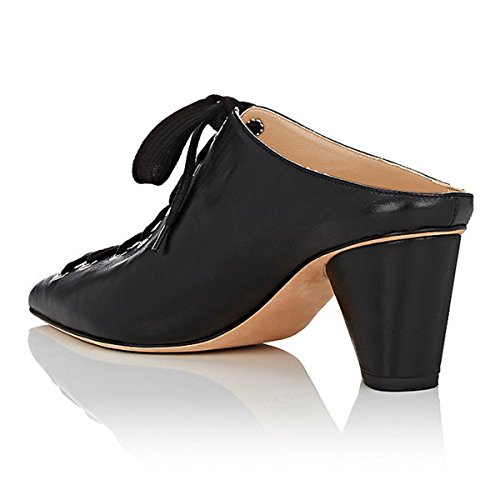 Fsj Kvinnor Mode Kon Mitten Klackar Mulor Spetsig Tå Snörning Diabilder Tillfällig Klänning Sandaler Storlek 4-15 Oss Svart