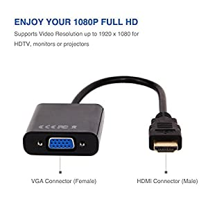 HDMI to VGA , 2 Pack, Moread Gold-Plated HDMI to VGA Adapter (Male to Female) for Computer, Desktop, Laptop, PC, Monitor, Projector, HDTV, Chromebook, Raspberry Pi, Roku, Xbox and More - Black