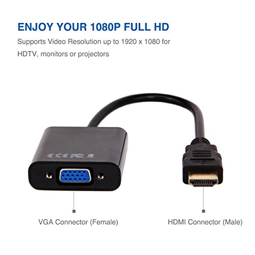 HDMI to VGA, Moread Gold-Plated HDMI to VGA Adapter (Male to Female) for Computer, Desktop, Laptop, PC, Monitor, Projector, HDTV, Chromebook, Raspberry Pi, Roku, Xbox and More – Black