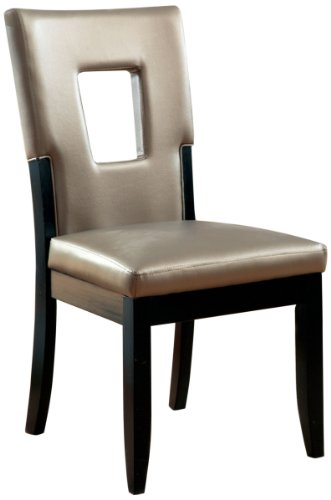 Furniture of America Helena Leatherette Keyhole Side Chair, Pewter, Set of (Leather Keyhole)