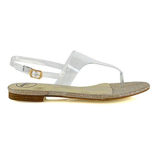 Sandali Slingback Donna Essex Glam Flat Con Infradito Perspex Estivo Infradito Oro Chiaro