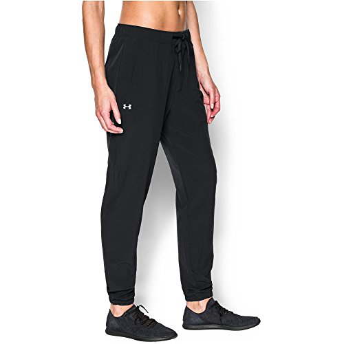 Under Armour Women's Easy Studio Pant, Black/Silver, X-Large (Yoga Pants Under Armour)