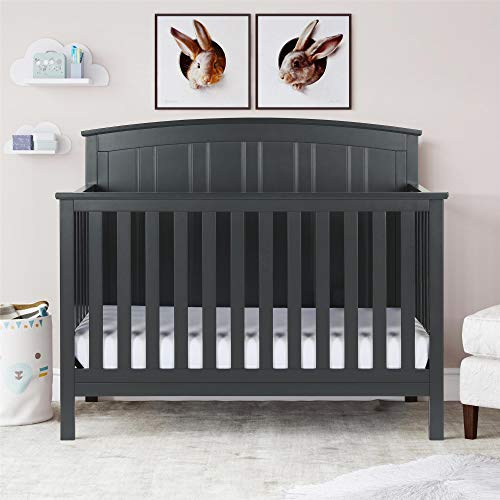 Baby Relax Colton 5 in 1 Convertible Wood Crib with Toddler Bed Conversion, Slate Gray