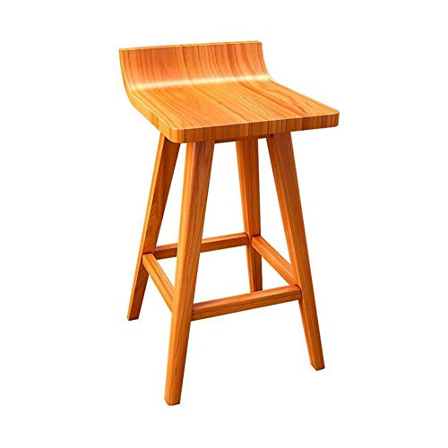CJC Bar Stools Seat Solid Wood Frame Chairs Home Kitchen Breakfast Counter Footrest (Color : Teak Color, Size : 434145CM)