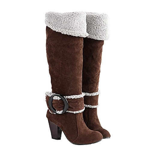 Big Size 4-10.5 Block High Heels Knee High Winter Shoes for Women Sexy Warm Fur Buckle Brown Snow Boots 7.5 B (M) US (Sexy Buckle)