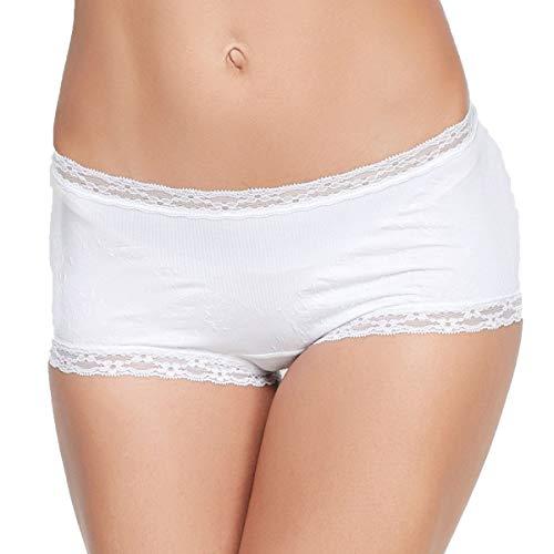 Eve's temptation Cathy Boyshort Panites Seamless Cotton Underwear Sexy Lingerie for Women, White, -