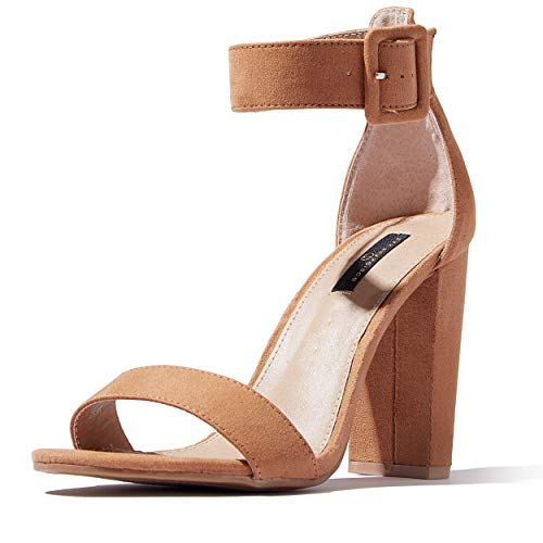 DailyShoes Women's Chunky Heel Sandal Open Toe with Buckle Ankle Strap Casual Dress Sandals, Camel Suede, 10 B(M) US ()
