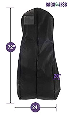 Black Wedding Gown Travel & Storage Garment Bag By Bags For Less - Soft, Breathable, Durable, Rip & Water Resistant Material