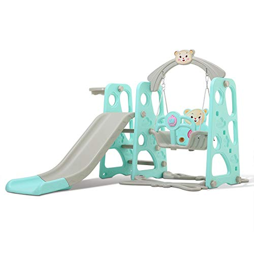 Bouanq Toddler Climber and Swing Set with Music - 3-in-1 Kids Slide & Swing Playset Include Basketball Hoop & Easy Climb Stairs, Great Xmas Gift for Children Play Both Indoors & Outdoor (Blue)