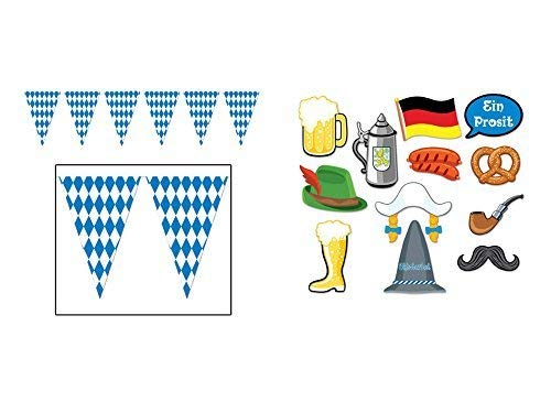 Beistle 17 in x 120 ft Oktoberfest Bavarian Check Flag Pennant Banner and Oktoberfest Photo Booth Prop Kit
