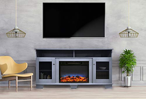 Cheap CAMBRIDGE Savona 59 in. Electric Fireplace in Slate Blue with Entertainment Stand and Multi-Color LED Flame Display Black Friday & Cyber Monday 2019
