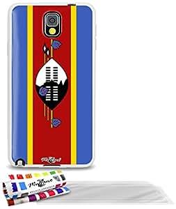 """Carcasa Flexible Ultra-Slim SAMSUNG N9000 de exclusivo motivo [Bandera Swazilandia] [Blanca] de MUZZANO  + 3 Pelliculas de Pantalla """"UltraClear"""" + ESTILETE y PAÑO MUZZANO REGALADOS - La Protección Antigolpes ULTIMA, ELEGANTE Y DURADERA para su SAMSUNG N9000"""