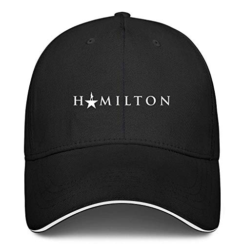 Unisex Classic Baseball Cap Hamilton Sandwich Hat Fits Men Women Hats Adjustable Metal Buckle Back Closure Caps Black