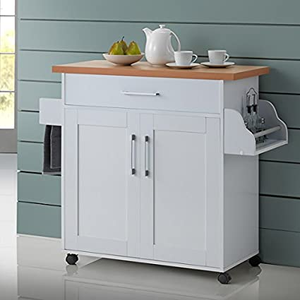 Amazon Com Kitchen Island Cart On Wheels With Wood Top Rolling