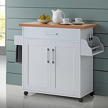 Amazon.Com - Kitchen Island Cart On Wheels With Wood Top Rolling