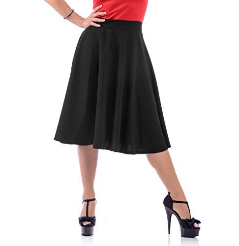 Steady-Clothing-High-Waist-Pin-up-Office-Lady-Black-Swing-Circle-Midi-Skirt