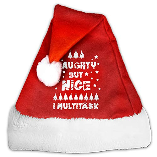 Christmas Hat Naughty But Nice I Multitask Holiday Hat for Adults and Child Red Velvet Comfort Liner Christmas ()