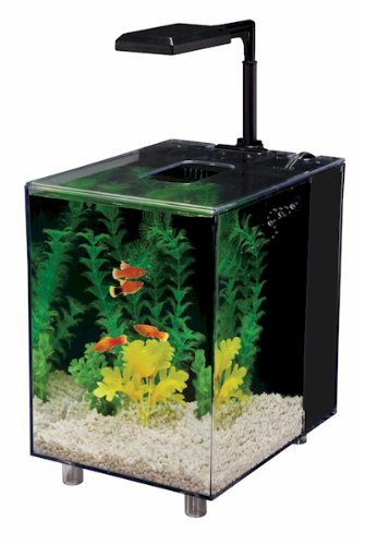 Penn-Plax Prism Nano Aquarium Kit with Filter and LED Light, Desktop Size, Black, 2 Gallon