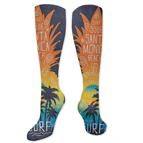 Compression Socks Surf Pineapple Fruit Tropical Palm Tree Girls Winter Sock Accessory Tight Stocking for Womens Men ()
