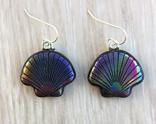 Dichroic FusPurple Green Pink Scallop Shell Laser Engraved Etched Dichroic Fused Glass Earrings with Solid Sterling Silver Ear ()