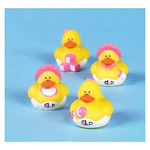 Rubber Duckies Measure - 12 Baby Girl Shower Rubber ducks Pink Duckies FAVORS Cake Toppers