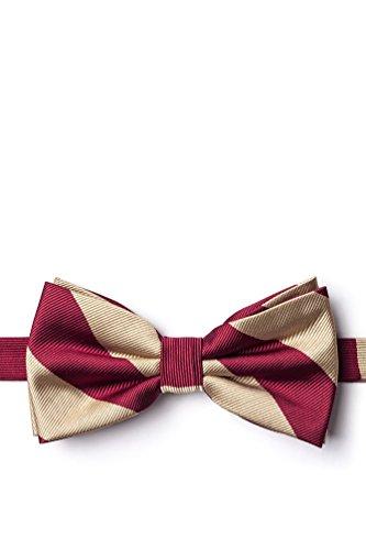 - Crimson & Cream Stripe Crimson Microfiber Pre-Tied Bow Tie