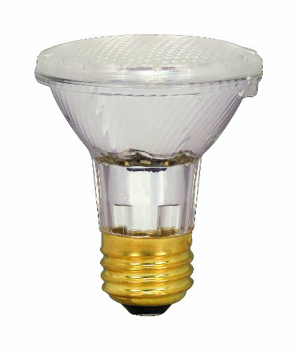 Satco S2231 39 Watt (50 Watt) 530 Lumens PAR20 Halogen Narrow Spot 10 Degrees Clear Light Bulb, Dimmable