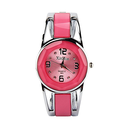 ELEOPTION Bracelet Design Quartz Watch with Rhinestone Dial Stainless Steel Band Free Women's Watch Box (XINHUA-Pink) (Stainless Pink Dial)