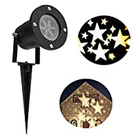 Lightess Christmas Projector Light Moving Star Holiday Decorations Outdoor Indoor Decor LED Landscape Projection Spotlight, Warm White, YG-TYD