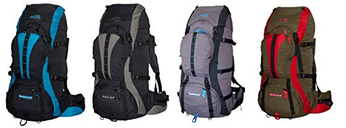 Trekking Mochila 65L + 10L adicional Volumen tashev Summit 75Litros Mochila de senderismo, gris - rojo (rojo) - SUMMIT 65 negro / azul