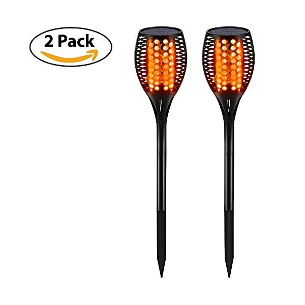 41Gjq0Nb23L. SS600  - Gold Armour 2PACK/4PACK Solar Lights Outdoor - Flickering Flames Torch Lights Solar Light - Dancing Flame Lighting 96 LED Dusk to Dawn Flickering Tiki Torches Outdoor Waterproof Garden
