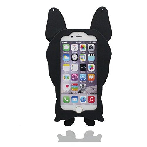 """Coque iPhone 6, [ TPU Material Flexible 3D chien ] Bulldog Cover Housse Étui pour iPhone 6S (4.7""""), Dust Slip Scratch Resistant, iPhone 6 Case (4.7"""") & Bouchon anti-poussière"""