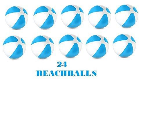 (24) 16'' Beach Balls ~ BLUE & WHITE Beach Ball Inflates ~ Patriotic Summer Luau Beachballs ~ Pool Decor Beach Favor Water Play Fun Outdoor Birthday Fourth July Luau Wedding Celebration ~ Outdoor Park