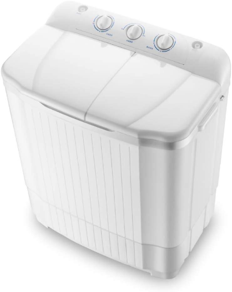 XHCP Lavadora portátil Mini Lavadora de Tina Doble (Lavado de 7 kg + Secado de 5 kg) Lavadora y Secadora compacta compacta, Blanca