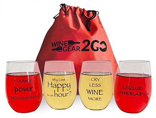 4 Wine Glasses Unbreakable Travel Bag & Box included-Great Gift Food Grade Plastic Funny and Durable Shatterproof Stemless Great for Wine Beer Cocktail Beverage Any Outdoor Party Pool Beach 16oz ()