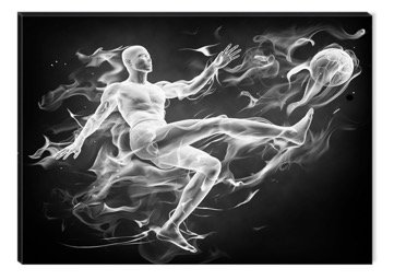 Inspirational Art Black and White Soccer Player Canvas Wall Art Abstract Picture Eco Light Framed Ready to Hang Artwork for Home Decoration by Inspirational Art