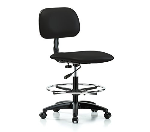PERCH Rolling Lab Chair with Adjustable Basic Backrest and Foot Ring for Carpet or Linoleum, Workbench Height, Black Vinyl