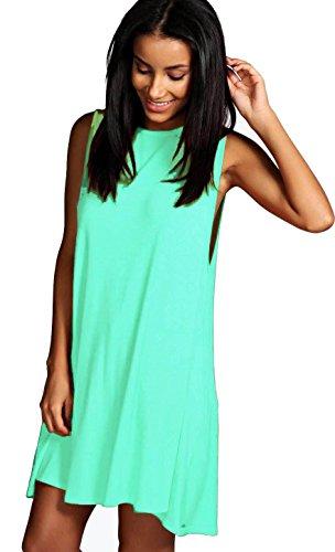 Damen Frauen Mini Hemdkleid Casual Blusenkleid Sleeveless Minikleid SommerKleid Kurz Minikleid Strandkleid 36 38 40 (663) Mint EoailNww8Z