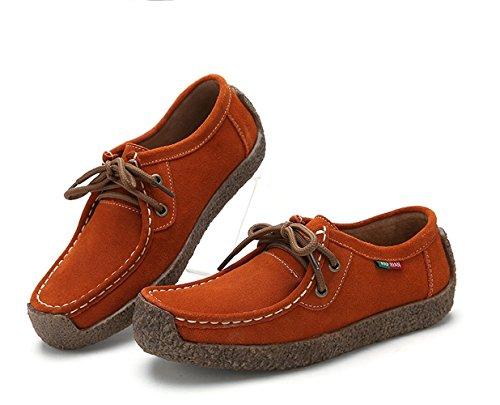 XIU XIAN Women Snail Casual Lace-up Genuine Leather Flat Sneaker Shoes (10.5, Orange) - Genuine Leather Women Sneakers